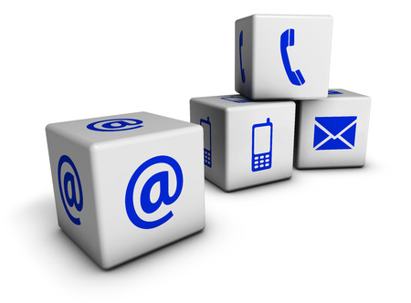 Foto de Website and Internet contact us page concept with blue icons on cubes isolated on white - Imagen libre de derechos