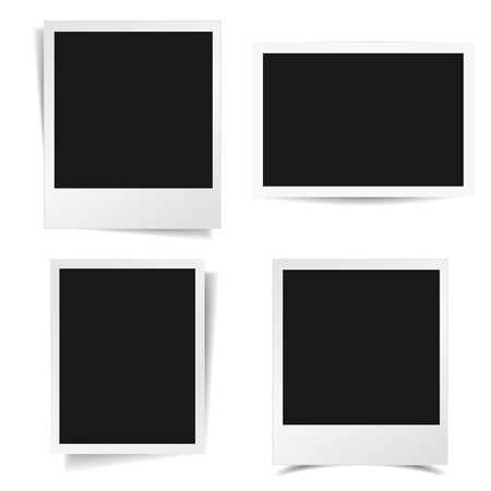 Illustration pour Collection of blank photo frames with different shadow effect and empty space for your photograph and picture  - image libre de droit