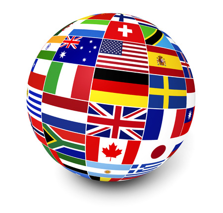 Foto de Travel, services and international business management concept with a globe and international flags of the world on white background  - Imagen libre de derechos