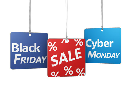 Foto de Black Friday and Cyber ??Monday shopping concept with sale sign and percent symbol on hanged tags isolated on white background. - Imagen libre de derechos