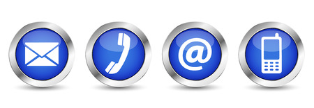 Illustration pour Contact us web buttons set with email, at, telephone and mobile icons on blue silver badge vector EPS 10 illustration isolated on white background. - image libre de droit