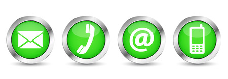 Ilustración de Contact us web buttons set with email, at, telephone and mobile icons on green silver badge vector illustration isolated on white background. - Imagen libre de derechos