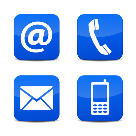Illustration pour Web contact us icons with telephone, email, mobile phone and at symbol on blue glossy tab badge buttons with shadow vector illustration isolated on white background. - image libre de droit