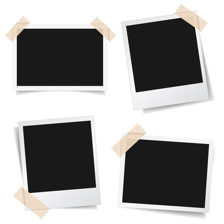 Ilustración de Collection of blank photo frames with adhesive tape, different shadow effects and empty space for your photograph and picture. EPS 10 vector illustration isolated on white background. - Imagen libre de derechos