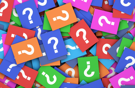 Photo pour Business questions concept with a question mark symbol and sign on a multitude of scattered colorful papers. - image libre de droit
