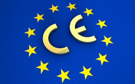 Photo pour European Union and EU community CE marking concept with sign, symbol and EU flag on background. - image libre de droit