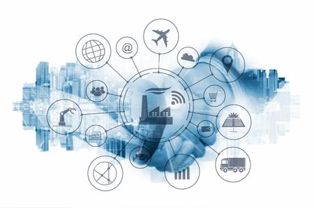 Foto de Industry 4.0 concept, smart factory with icon flow automation and data exchange in manufacturing technologies. - Imagen libre de derechos