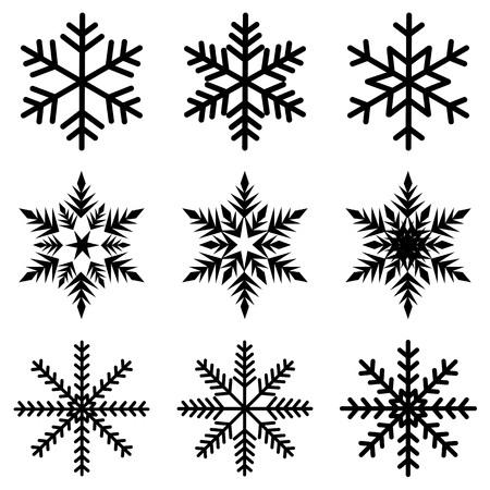 Illustration pour Nine black snowflakes set icon winter crystal snow vector. - image libre de droit