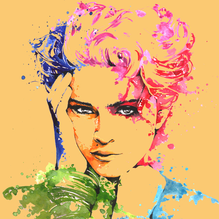 Photo for The famous pop singer Madonna on a water color painting - Royalty Free Image
