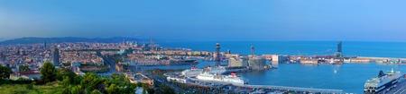 Foto de Barcelona, Spain at summer. Very wide, high quality panorama - Imagen libre de derechos