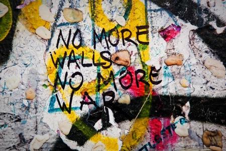 Foto de Part of Berlin Wall with grunge graffiti. Potsdamer Platz, Berlin, Germany - Imagen libre de derechos