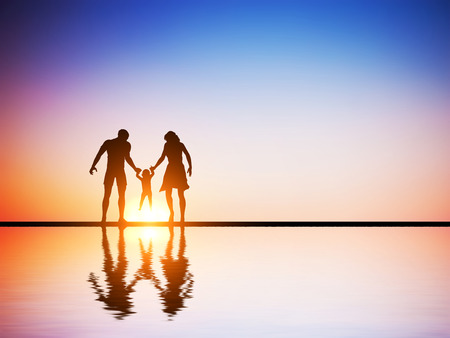 Foto de Happy family together, parents and their child at sunset, water reflection.  - Imagen libre de derechos
