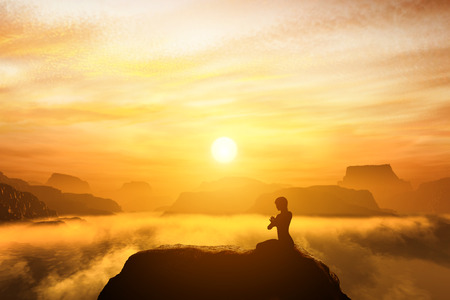 Photo for Woman meditating in sitting yoga position on the top of mountains above clouds at sunset. Zen, meditation, peace - Royalty Free Image
