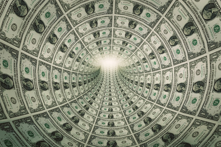 Foto de Tunnel of money, dollars towards light. Conceptual - Imagen libre de derechos