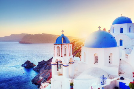 Photo for Oia town on Santorini Greece at sunset. - Royalty Free Image