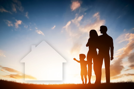 Photo for Family dream about a new house, home. Child reaching for a dream with parents. Sunset sun, sky. - Royalty Free Image