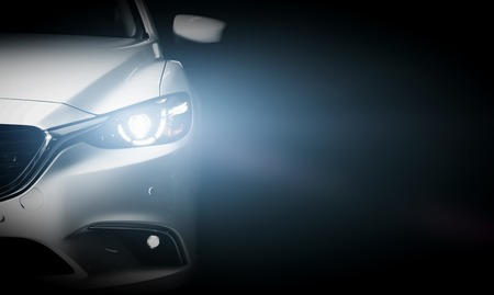 Foto de Modern luxury car close-up banner background. Concept of expensive, sports auto. - Imagen libre de derechos