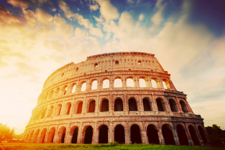 Photo for Colosseum in Rome, Italy. Symbol of the ancient city. Amphitheatre in sunrise light. Vintage - Royalty Free Image