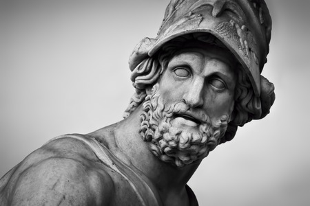 Photo for Ancient style sculpture of Menelaus supporting the body of Patroclus in Loggia dei Lanzi in Florence, Italy. Black and white, head close-up - Royalty Free Image