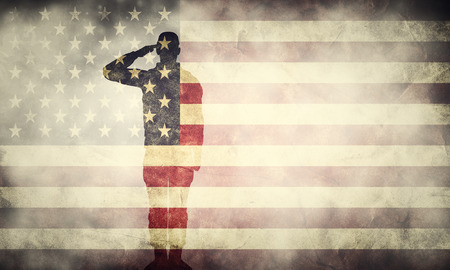 Foto de Double exposure of saluting soldier on USA grunge flag. Vintage, retro style. Patriotic design - Imagen libre de derechos