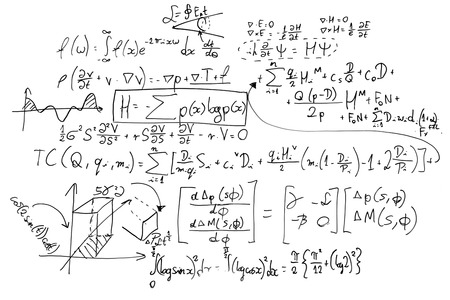 Foto de Complex math formulas on whiteboard. Mathematics and science with economics concept. Real equations, symbols handwritten by a professional. - Imagen libre de derechos