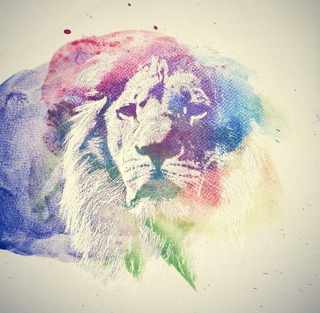 Foto de Watercolor painting of lion. Abstract, colorful art. Unique - Imagen libre de derechos