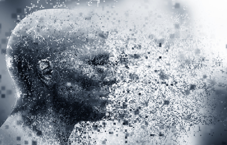 Photo for Man face with pixel dispersion effect. Concept of technology, modern science but also disintegration of mind etc. 3D rendering - Royalty Free Image