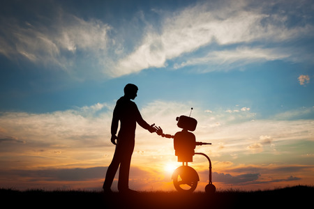 Photo pour Man and robot meet and handshake. Concept of the future interaction with artificial intelligence. 3D rendering. - image libre de droit