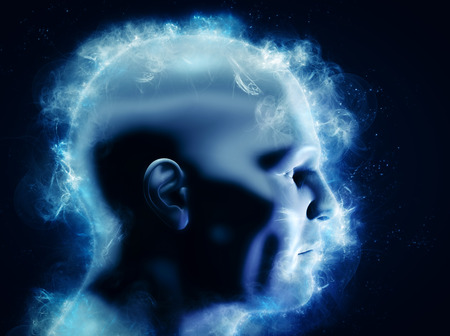 Photo for Mind, brain power and energy, imagination concept. 3D rendering of human head. May also symbolize brainstorm, mentality, idea etc. - Royalty Free Image