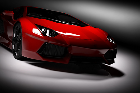 Photo pour Red fast sports car in spotlight, black background. Shiny, new, luxurious. 3D rendering - image libre de droit