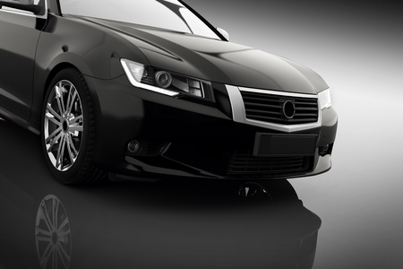 Photo pour Modern black metallic sedan car in spotlight. Generic desing, brandless. 3D rendering. - image libre de droit