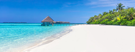 Photo pour Panorama of wide sandy beach on a tropical island in Maldives. Coconut palms and water lodge on Indian Ocean. - image libre de droit
