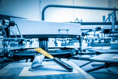Photo for Print screening metal machine. Industrial printer. Print manufacture. - Royalty Free Image