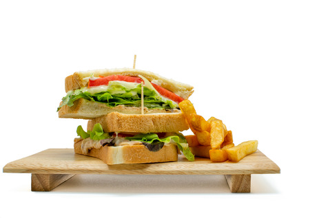 Photo for Homemade healthy club sandwich and french fried on white background - Royalty Free Image