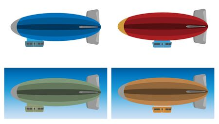 Illustration pour Zeppelin or Airship on white background and sky background vector Illustration - image libre de droit