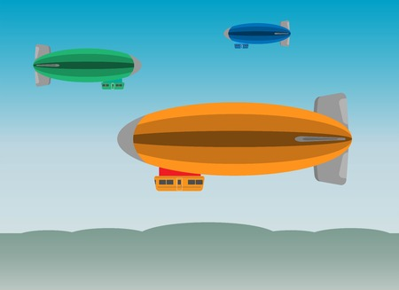 Illustration pour Zeppelin or Airship on  sky background vector Illustration - image libre de droit