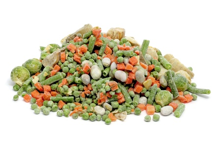 frozen vegetables mix isolated on a white background