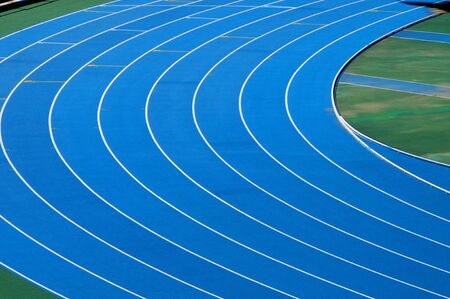 closeup and cutout of a running track