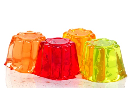gelatin of different colors on a white background