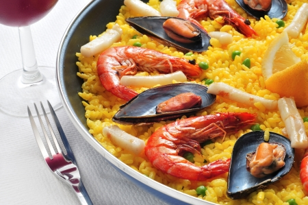 closeup of a typical paella from Spain