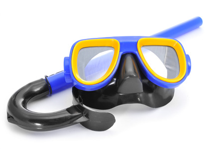 closeup of a blue, yellow and black diving mask and a snorkel on a white background