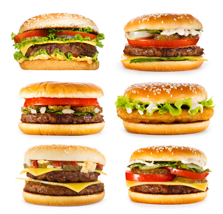 Photo pour set of various hamburgers isolated on white background - image libre de droit