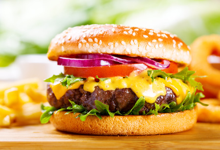 Photo for hamburger with fries on wooden table - Royalty Free Image