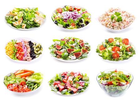 Photo pour set of various salads on white background - image libre de droit