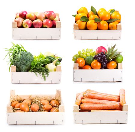 set of various food in wooden box on white background