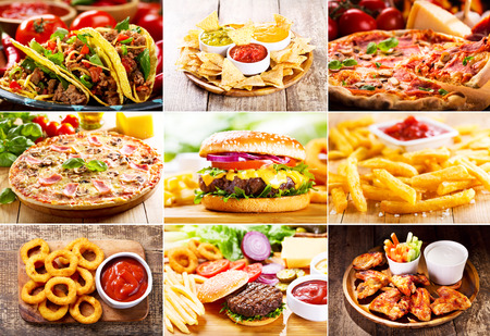 Photo pour collage of various fast food products - image libre de droit