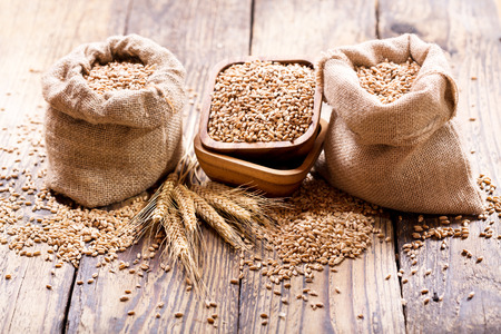 Photo for wheat grains in sacks on wooden table - Royalty Free Image