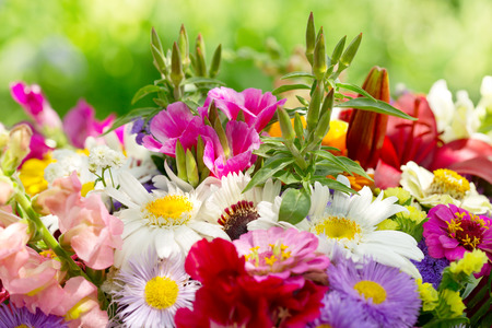 Foto de bouquet of summer flowers on green background - Imagen libre de derechos