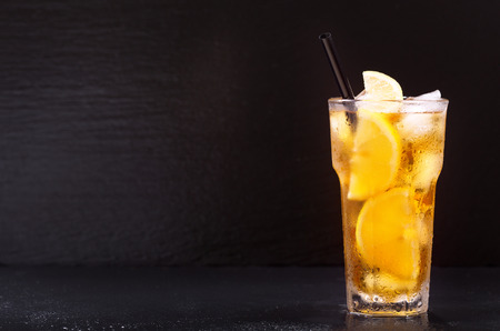 Photo for glass of lemon iced tea on dark background - Royalty Free Image