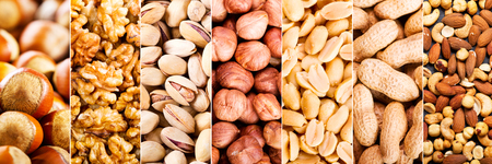 Photo for collage of mixed nuts as background - Royalty Free Image